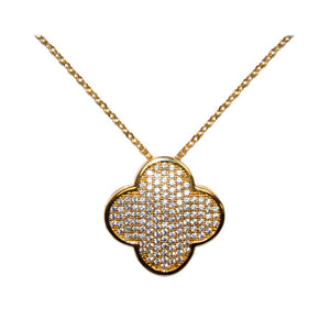 Designer Pave Gold Clover Necklace