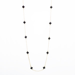 "Designer Inspired 36"" Black Enamel Alhambra Clover Necklace in Gold Finish"