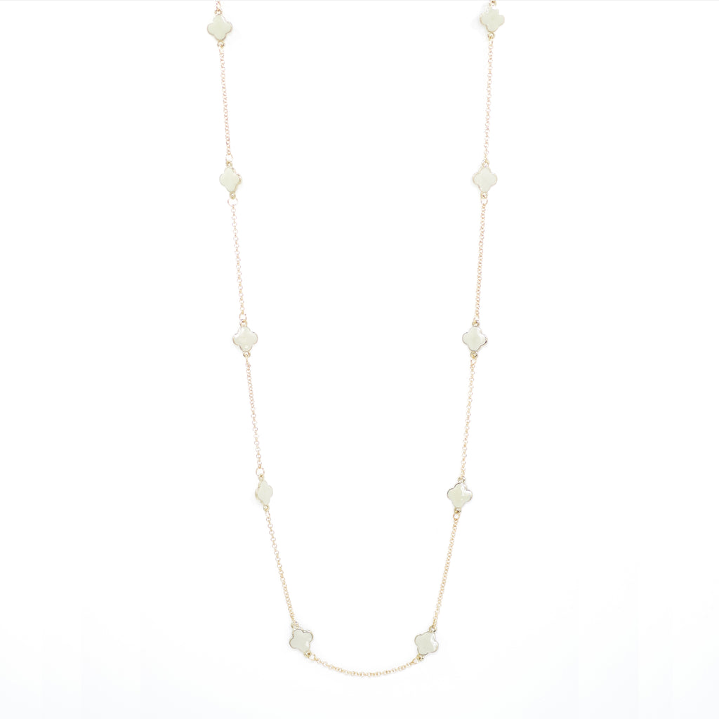 "Designer Inspired 36"" White Enamel Alhambra Clover Necklace in Gold Finish"
