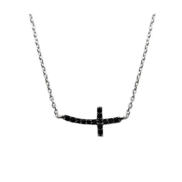 Side Cross Necklace w/Black Pave