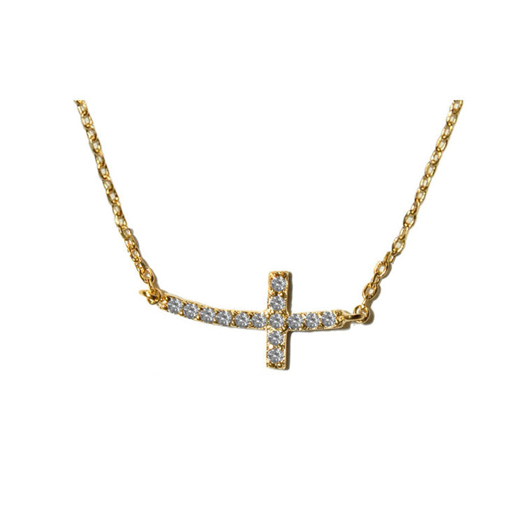 Side Cross Gold Necklace w/Pave