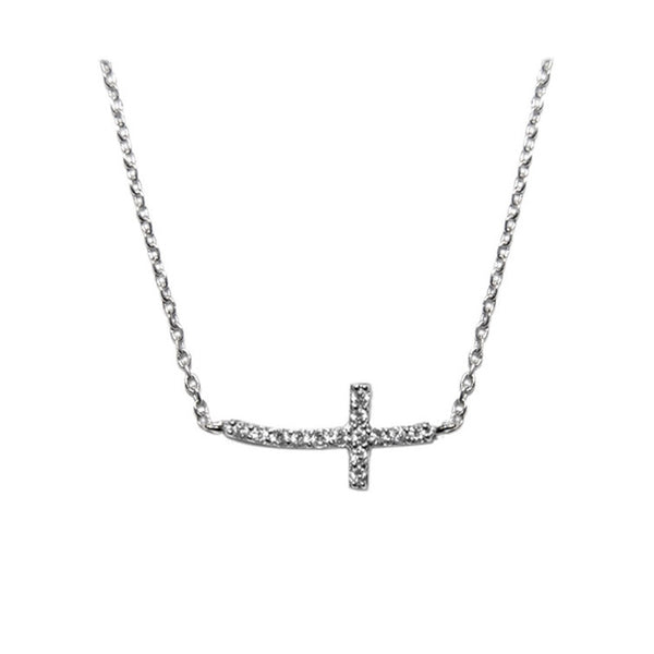 Side Cross Necklace w/Pave