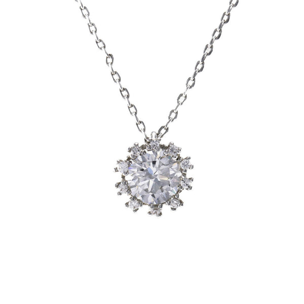 CZ Stone Solitaire Halo Necklace In Rhodium
