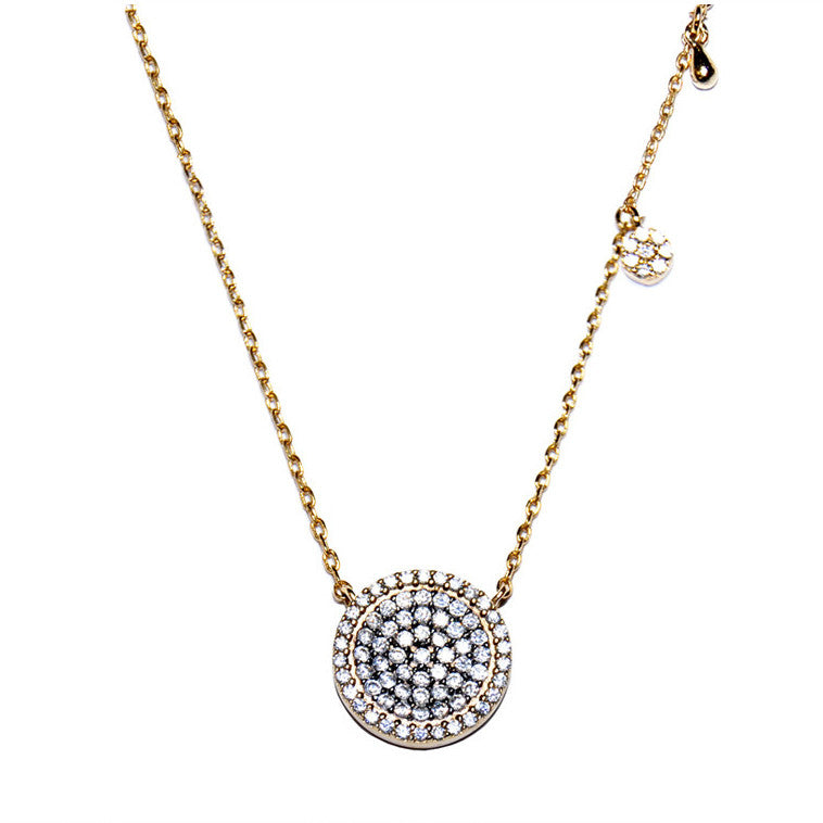 Halo Pave Round Necklace