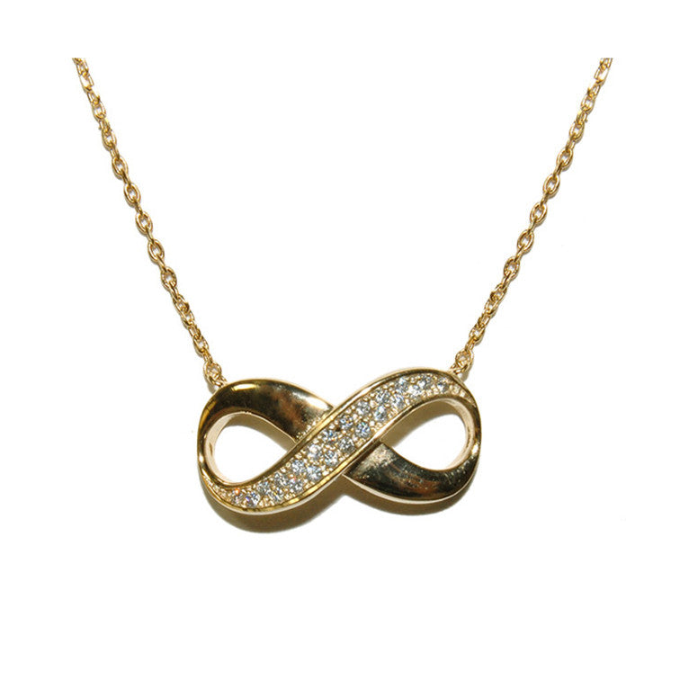 Vermeil Infinity Necklace W/Pave