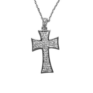 Pave Iron Celtic Cross Necklace In Rhodium