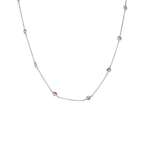 "By The Yard 16"" Necklace in Rhodium with Pink Stones"