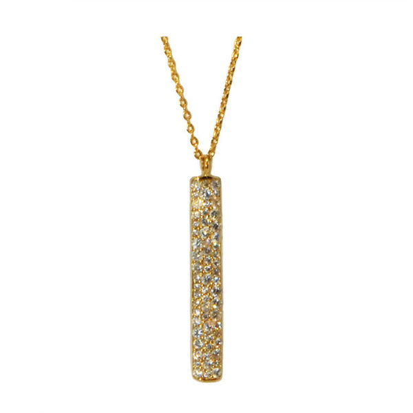 Vermeil Bar Necklace w/Pave