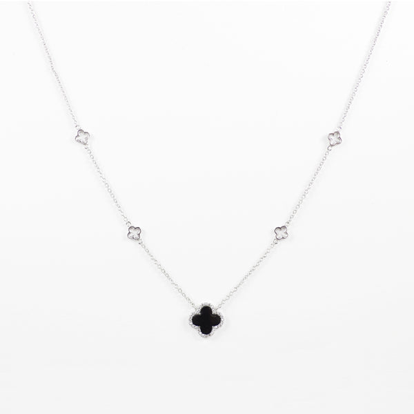 Designer Inspired Clover Necklace in Black Enamel Finish