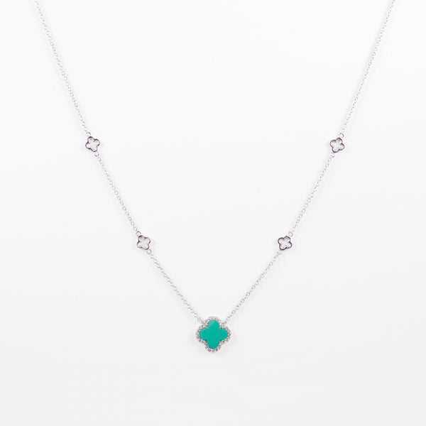 Designer Inspired Clover Necklace in Turquoise Enamel Finish