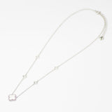 Designer Inspired Clover Necklace in White Enamel Finish