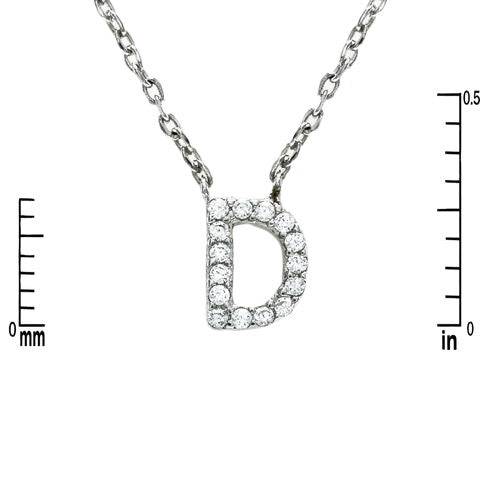 drop pave letter charm necklace in silver