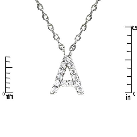 Drop Pave Letter Charm Necklace in rhodium