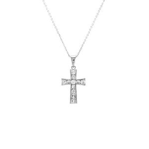 Pave Cross Pendant Necklace in Rhodium