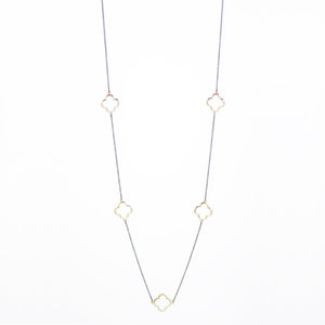 "Designer Inspired 36"" Alhambra Gold Clover Necklace in Hematite Finish"