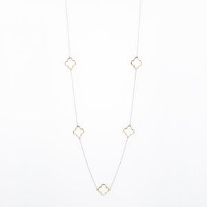 "Designer Inspired 36"" Alhambra Gold Clover Necklace in Rhodium Finish"