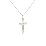 Pave Mesh Cross Pendant Necklace in Rhodium