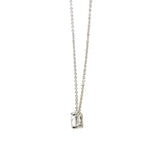 CZ Stone Solitaire Necklace In Rhodium