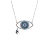 Turkish and Greek Evil Eye with Hamsa Necklace In Rhodium with Blue Stones
