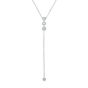 Pave Diamond Drop Necklace in Rhodium
