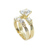 Two Ring Wedding Set in Gold with 9mm Round Cut Cubic Zirconia (CZ) Solitaire