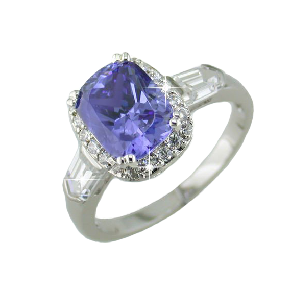 Tanzanite Oval Cut Ring in Sterling Silver with Pave Accents and Baguette Brilliants