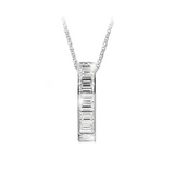 Jacobs Ladder Necklace with Channel Set Baguettes in Sterling Silver