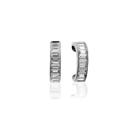 Jacobs Ladder Earrings with Channel Set Baguettes in Sterling Silver