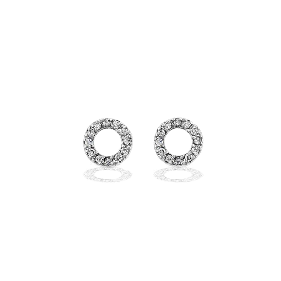 Silver Circle Of Love Pave Earrings
