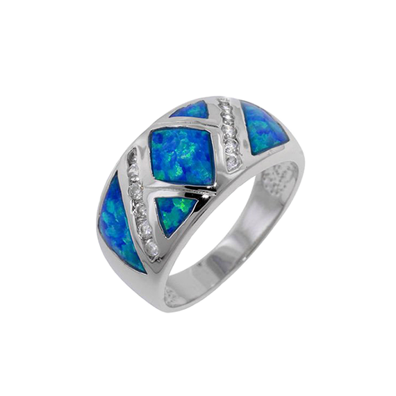 Synthetic Blue Opal Silver Ring W/ Baguettes