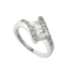 Emerald Cut Silver Bypass Band