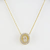Oval Pave Shimmery Moving CZ Diamond In Gold Finish