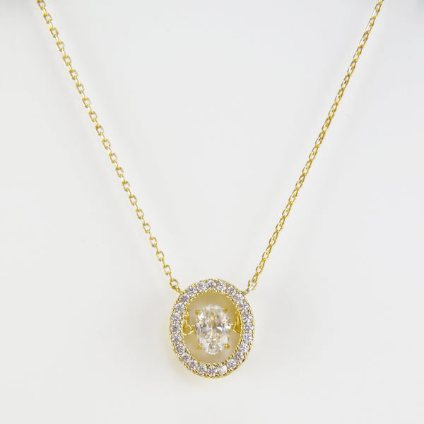 Oval Moving CZ Diamond In Gold Finish