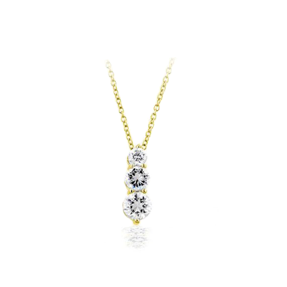 Past, Present, Future 14 CT Vermeil Graduated CZ Pendant Necklace
