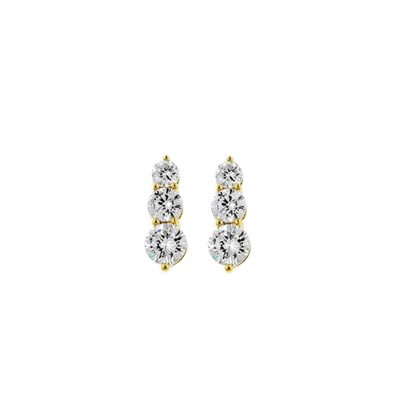 Past, Present, Future 14 CT Vermeil Graduated CZ Pendant Earrings