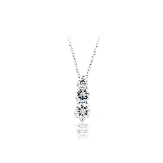 Past, Present, Future Sterling Silver Graduated CZ Pendant Necklace