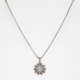 Pave Starburst Designer Inspired Pendant Necklace