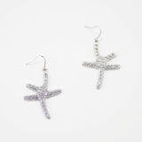 Pave Dancing Starfish Earrings on Fishhooks