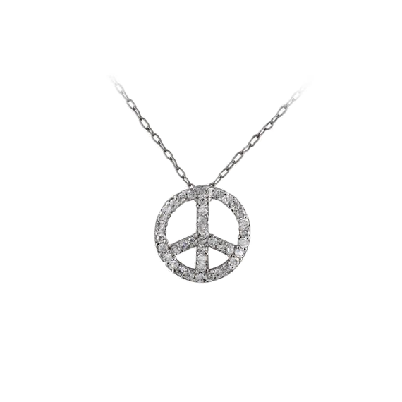 Peace Sign Silver Necklace with Pave CZ Stones