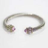 Pink Tourmaline Designer Inspired Bangle