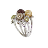 Multicolor Pearl Bauble Ring in Rhodium with Scattered CZ Accents