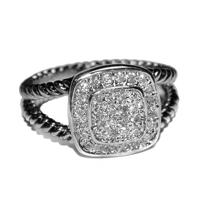 Split shaft micro pave designer ring