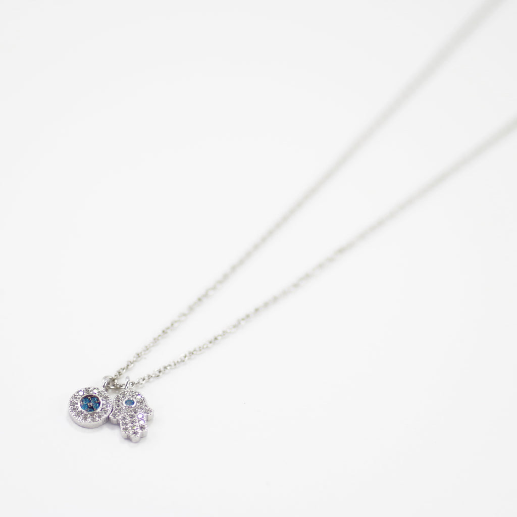 Designer Inspired Hamsa Necklace in Rhodium with Blue CZ Stones