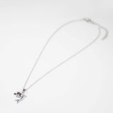 Rhodium Plated Designer Dolphine with CZ Stone