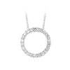Silver Circle Of Love Pave Pendant Necklace