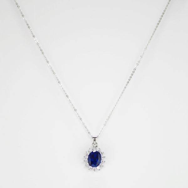 Blue Sapphire Stone Princess Design Necklace
