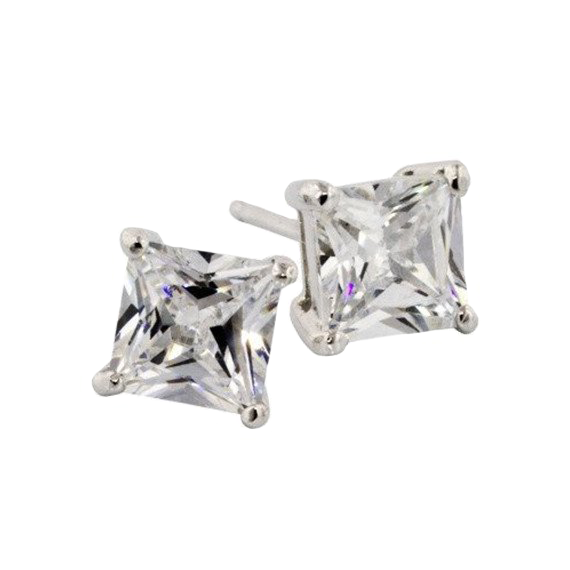 Princess Cut Silver Studs