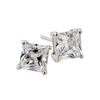 Silver Princess Cut Studs