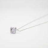 Square Pave Shimmery Moving CZ Diamond Pendant Necklace