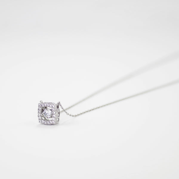 Square Pave Moving CZ Diamond Pendant Necklace